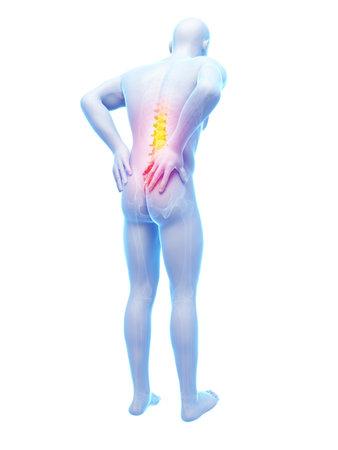 3d rendered illustration - backache male Stock Illustration - 18447593