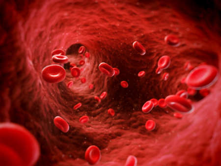 cancer spread: 3d rendered illustration of human blood cells Stock Photo