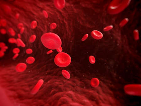 globulo rojo: 3d rindió la ilustración de células sanguíneas humanas Foto de archivo