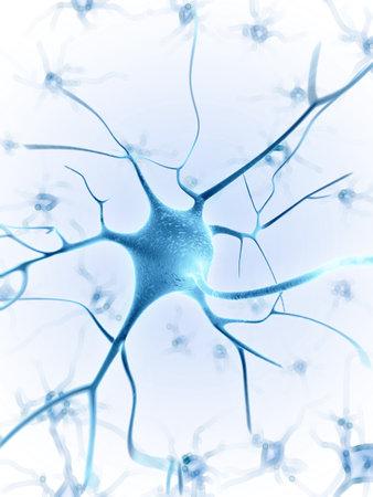 neuron: 3d rindi� la ilustraci�n de una c�lula nerviosa Foto de archivo
