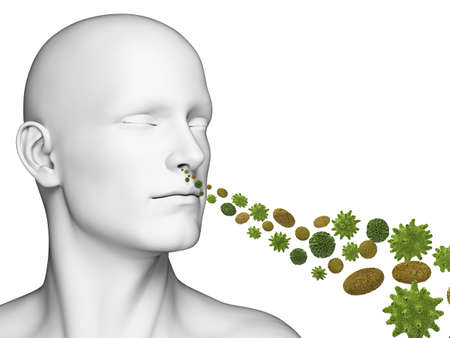 3d rendered illustration of a guy breathing pollen illustration