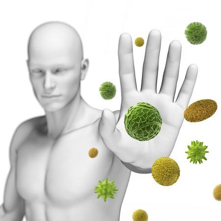 asthme: 3d illustration rendu d�fendre un peu de pollen Banque d'images