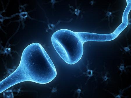 neuron: 3d rindi� la ilustraci�n de un receptor humano Foto de archivo