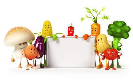 funny tomatoes: a large group of vegetable characters Stock Photo