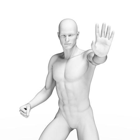 defending: 3d rendered illustration of a defending man