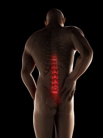 back pain: 3d rendered illustration of a man having backache