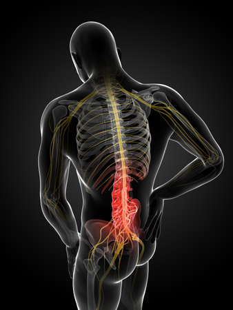 esqueleto: 3d rindió la ilustración de un hombre que tiene dolor de espalda