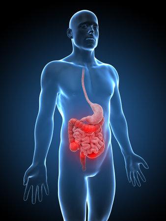 convulsion: 3d rindió la ilustración de un hombre que tiene dolor de estómago Foto de archivo