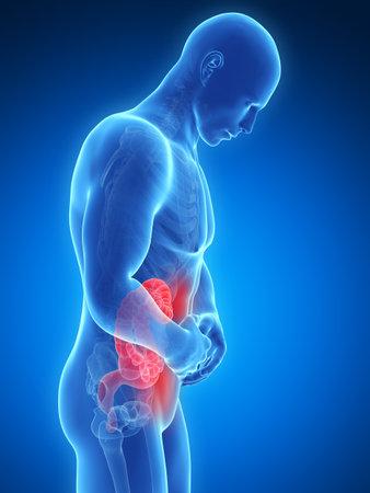 dolor de estomago: 3d rindi� la ilustraci�n de un hombre que tiene dolor de est�mago Foto de archivo