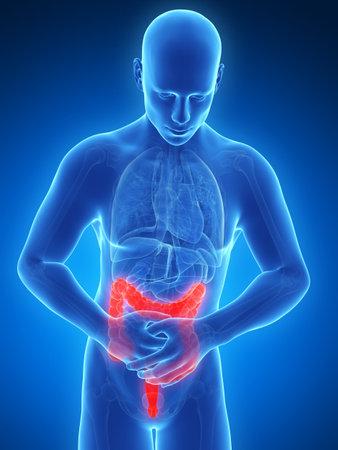 dolor abdominal: 3d rindió la ilustración de un hombre que tiene dolor de estómago Foto de archivo