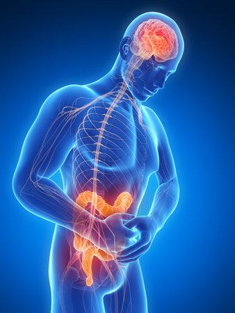 convulsion: 3d rindi� la ilustraci�n de un hombre que tiene dolor de est�mago Foto de archivo