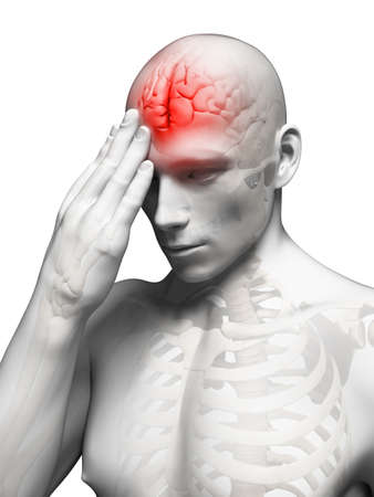 male headache: 3d rindi� la ilustraci�n conceptual de dolor cabeza