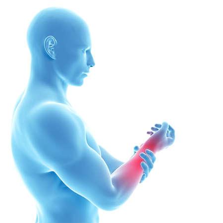 arm pain: 3d rendered illustration of a man having pain in the arm Stock Photo