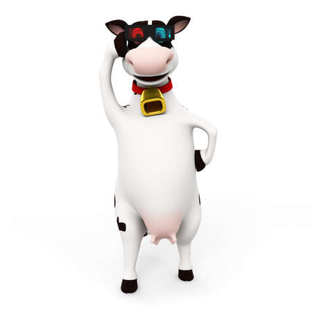 3d rendered toon character - funny cow Stock Photo