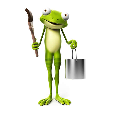 3d rendered toon character - green frog Stock Photo - 22584063