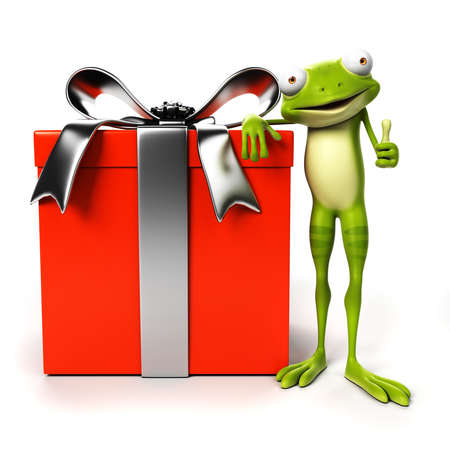 3d rendered toon character - green frog Stock Photo - 22584068