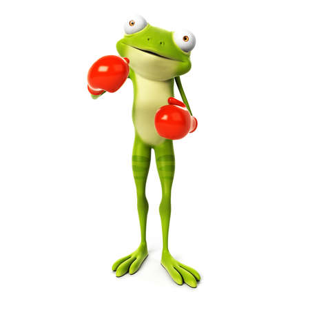 3d rendered toon character - green frog Stock Photo - 22584083