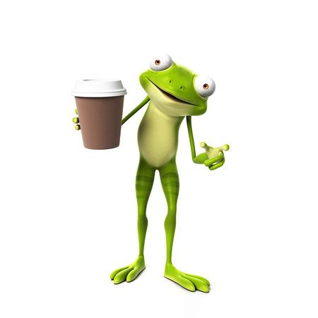 3d teruggegeven karakter van Toon - groene kikker