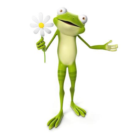 3d teruggegeven toon karakter - groene kikker