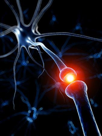 3 차원 렌더링 된 의료 일러스트 레이 션 - 활성 뉴런 스톡 콘텐츠