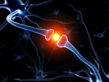 3d teruggegeven medische illustratie - actief neuron