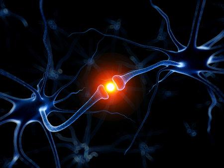 3d rindió la ilustración médica - neurona activa Foto de archivo