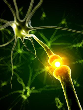 3d teruggegeven medische illustratie - actieve neuron Stockfoto