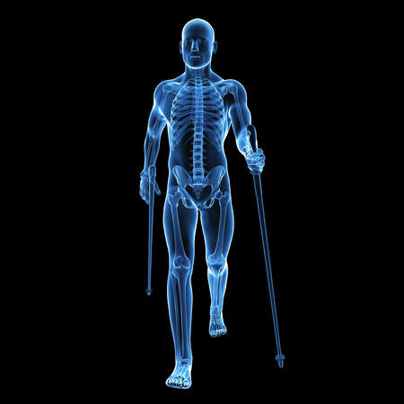 3 d レンダリングされた医療イラスト - ノルディックウォー キング 写真素材