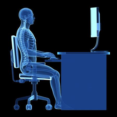 3d rindió la ilustración médica - correcta postura sentada Foto de archivo - 22584218