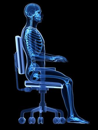3d rendered medical illustration - correct sitting posture