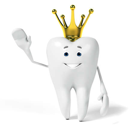 3d rendered toon character - funny tooth Фото со стока