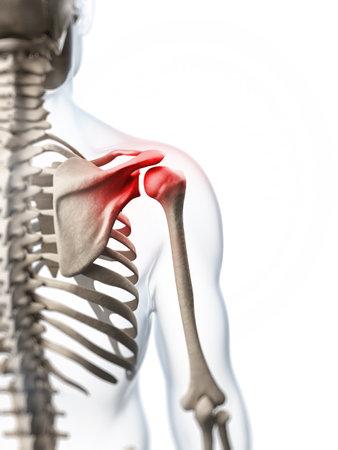 3d teruggegeven illustratie van een pijnlijke schouder