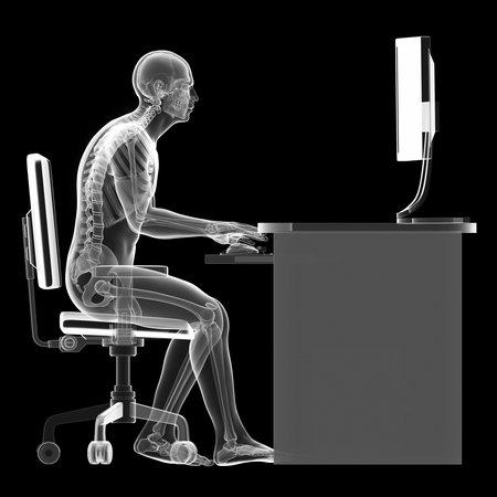 3d teruggegeven illustratie van een man die op de pc - verkeerde zithouding Stockfoto