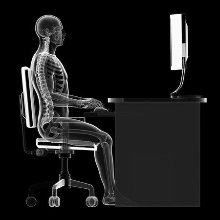 3d teruggegeven illustratie van een man die op de pc - correcte zithouding