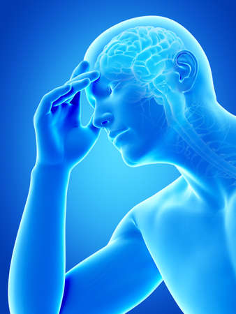 頭痛を持っている人の図