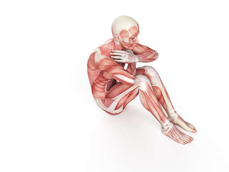 exercise illustration - negative situp Stock Photo
