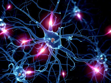 3d rendered illustration of an active nerve cell 写真素材