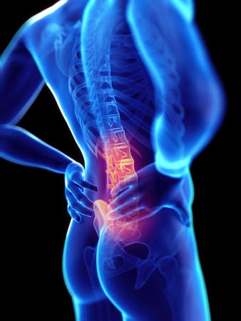 medically accurate 3d rendering of a guy having backache Stock Photo