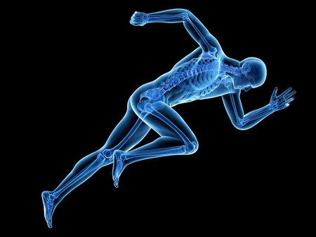 3d reso illustrazione medicinale esatta di un sprinter