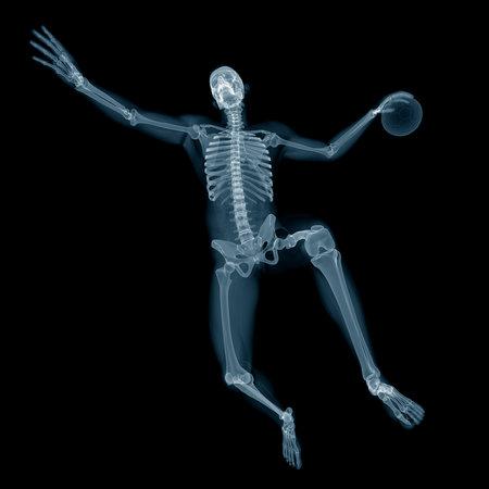 3d rendered medisch nauwkeurige illustratie van een handbal speler x-ray