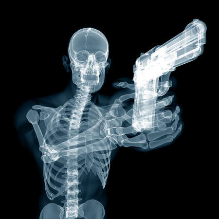 3d rendered medically accurate illustration of a guy with a pistol Stock Photo