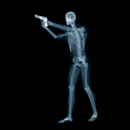 3D 렌더링 된 의학적으로 정확한 권총 가진 남자의 그림 스톡 콘텐츠