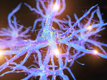 3d rendered, medically accurate illustration of an active nerve cell