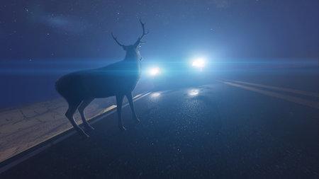 3d rendered illustration of a deer infront of a car