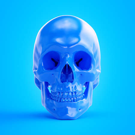 3d rendered illustration of a blue skull Stock Photo