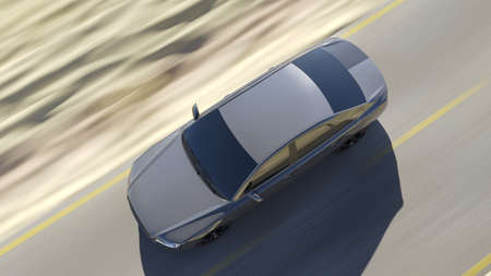 3d rendered illustration of a fast car on the road 写真素材
