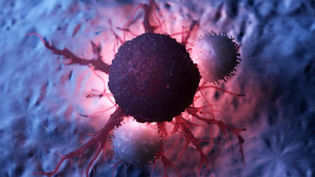3d rendered medically accurate illustration of white blood cells attacking a cancer cell Foto de archivo - 108842642