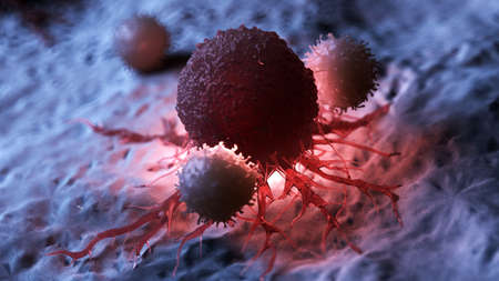 3d rendered medically accurate illustration of white blood cells attacking a cancer cell Stock Illustration - 108632778