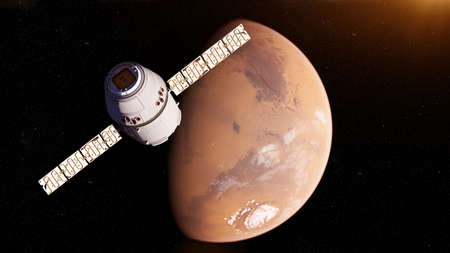 3d rindió la ilustración de un satélite delantero de marte