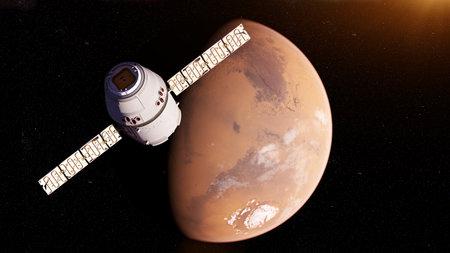 Illustration de rendu 3D d'un satellite en face de mars